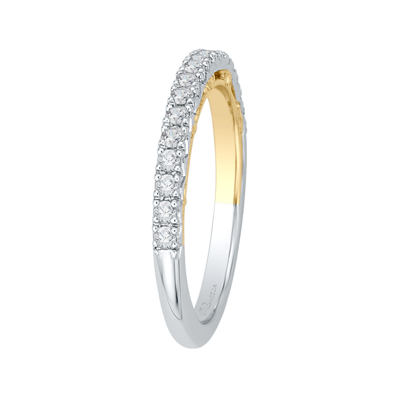 14K Two Tone Gold Round Diamond Half Eternity Wedding Band