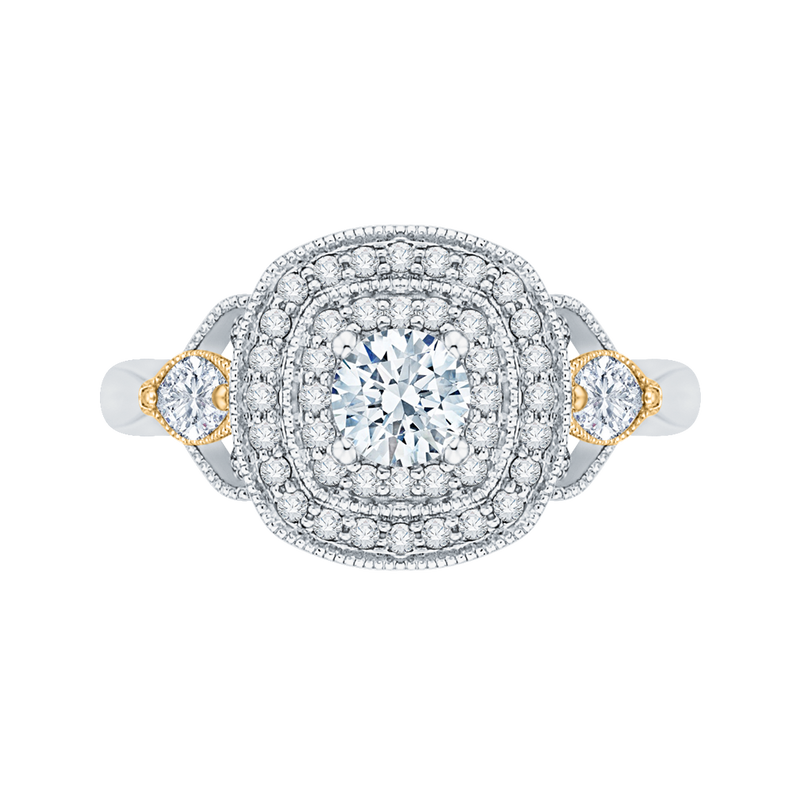 PR0116EC-44WY-.33 Bridal Jewelry Carizza White Gold  Rose Gold  Yellow Gold Round Diamond Double Halo Halo Engagement Rings