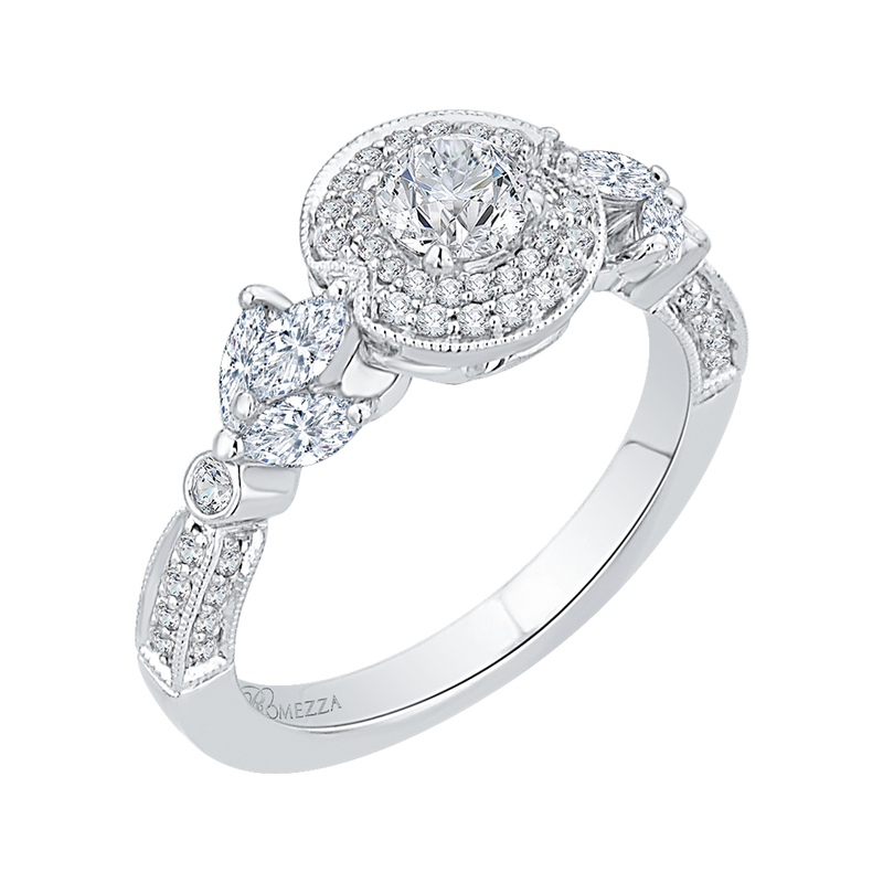 14K White Gold Round Diamond Double Halo Floral Engagement Ring