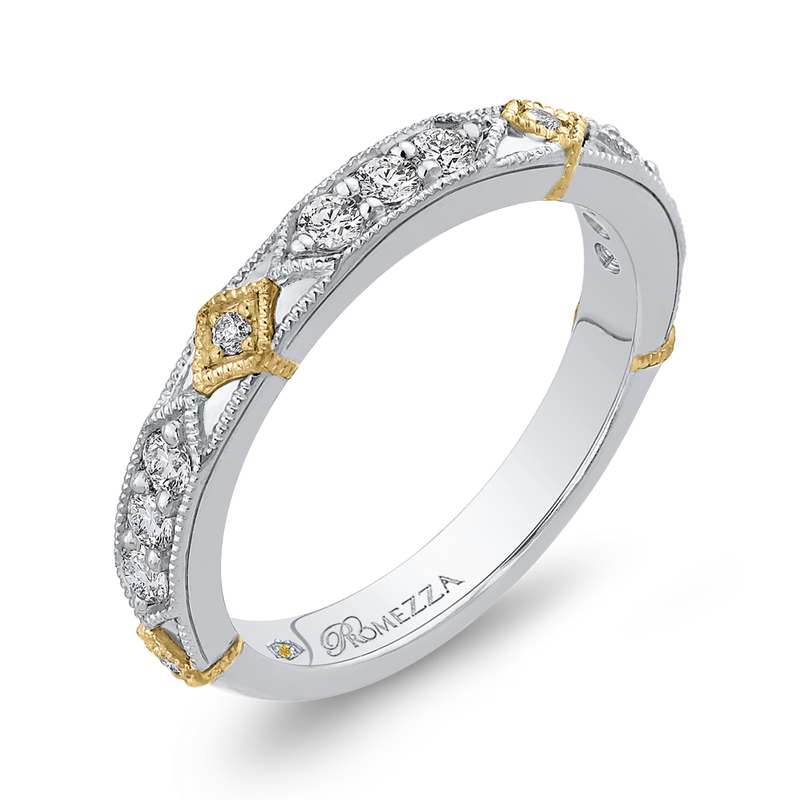 14K Two Tone Gold Round Diamond Wedding Band