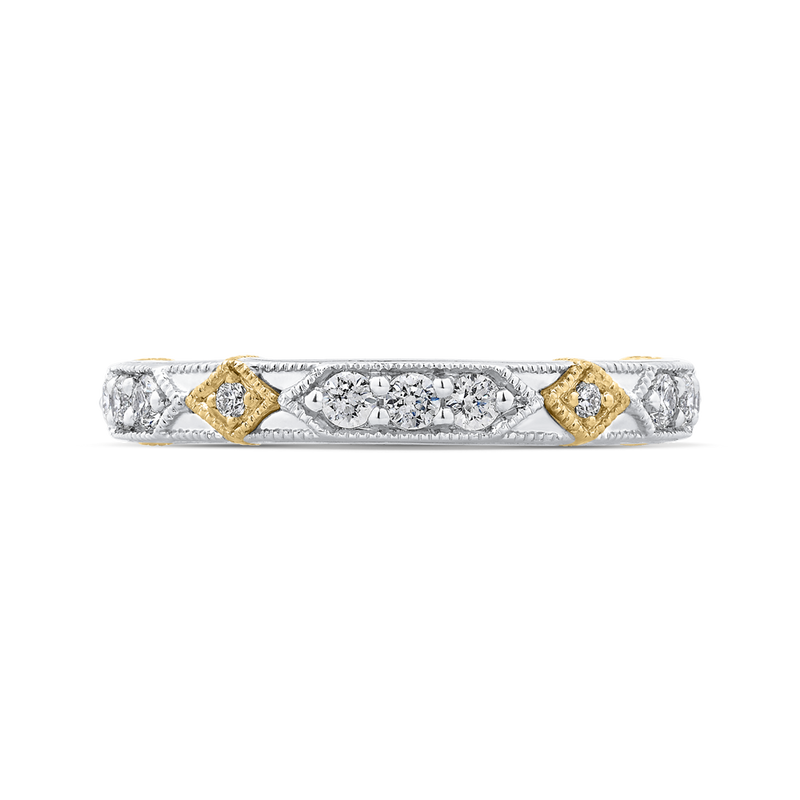 PR0202B-44WY-.50 Bridal Jewelry Carizza White Gold  Rose Gold  Yellow Gold Round Diamond  Wedding Bands
