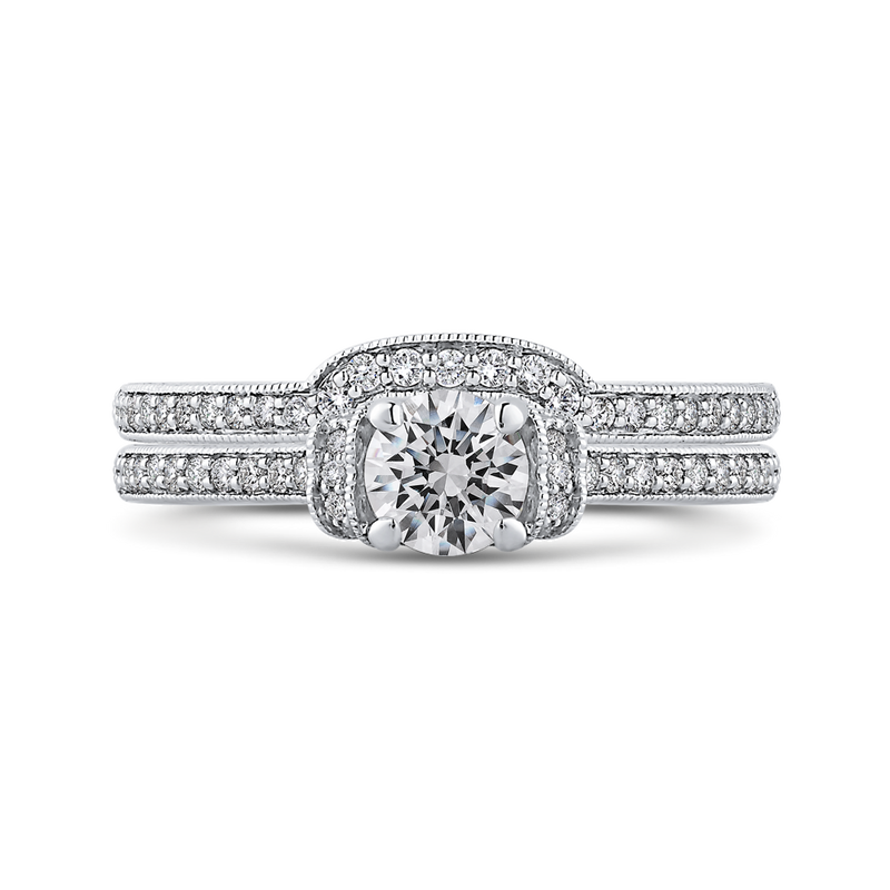 14K White Gold Round Cut Diamond Engagement Ring