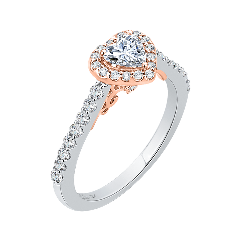 14K Two Tone Gold Heart Shape Diamond Halo Engagement Ring