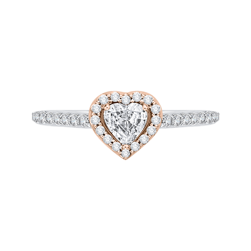 PRH0154ECH-44WP-.50 Bridal Jewelry Carizza White Gold  Rose Gold  Yellow Gold  Diamond Halo Engagement Rings