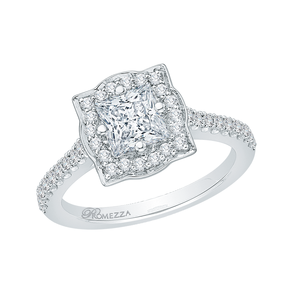 14K White Gold Princess Diamond Halo Vintage Engagement Ring