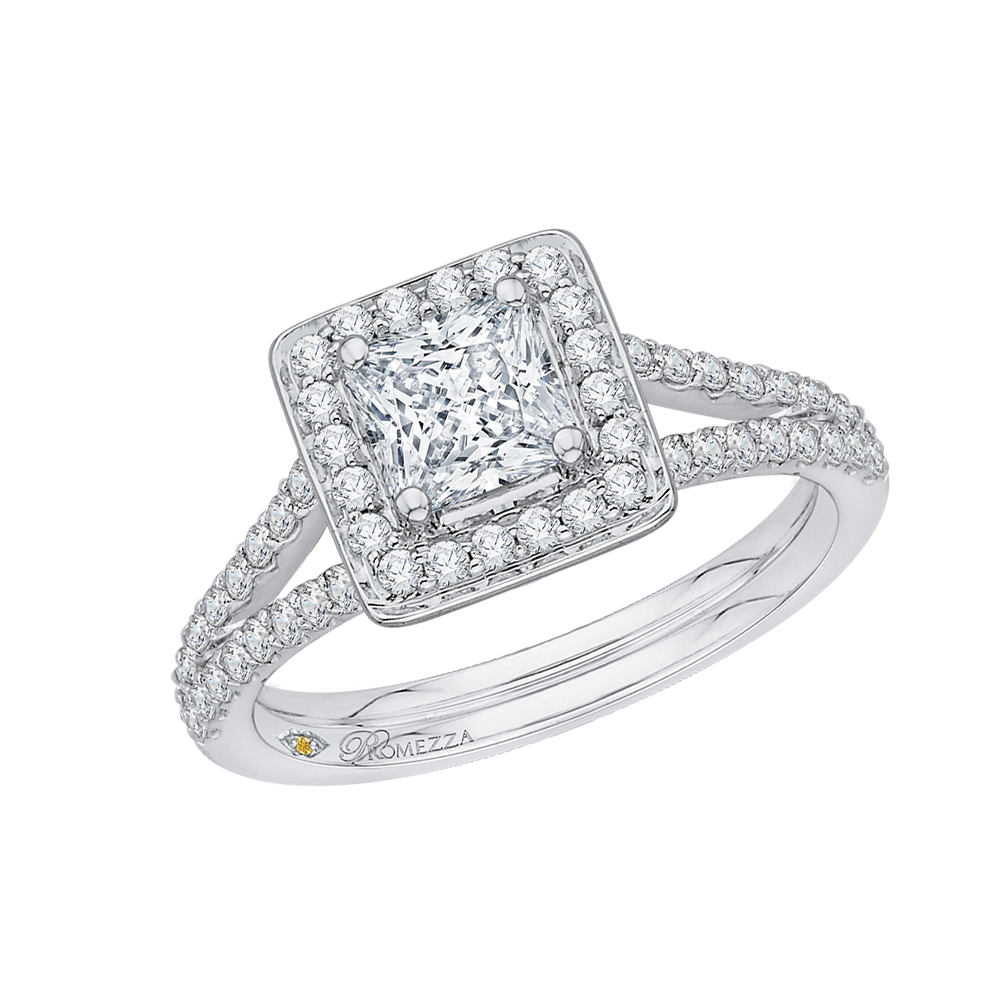 14K White Gold Princess Diamond Halo Engagement Ring with Split Shank