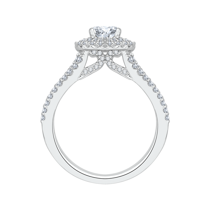 Cushion Cut Diamond Double Halo Engagement Ring In 14K White Gold with Split Shank