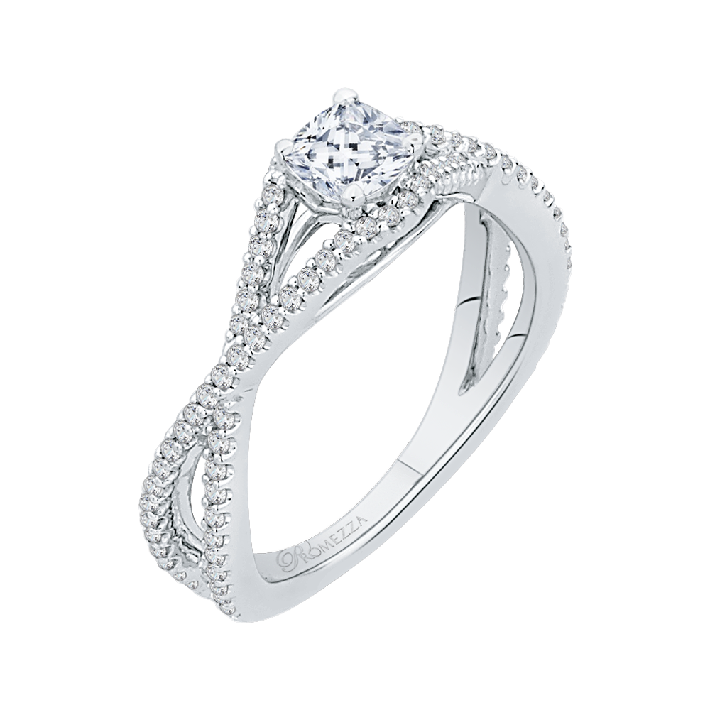 Cushion Diamond Engagement Ring with Split Shank In 14K White Gold