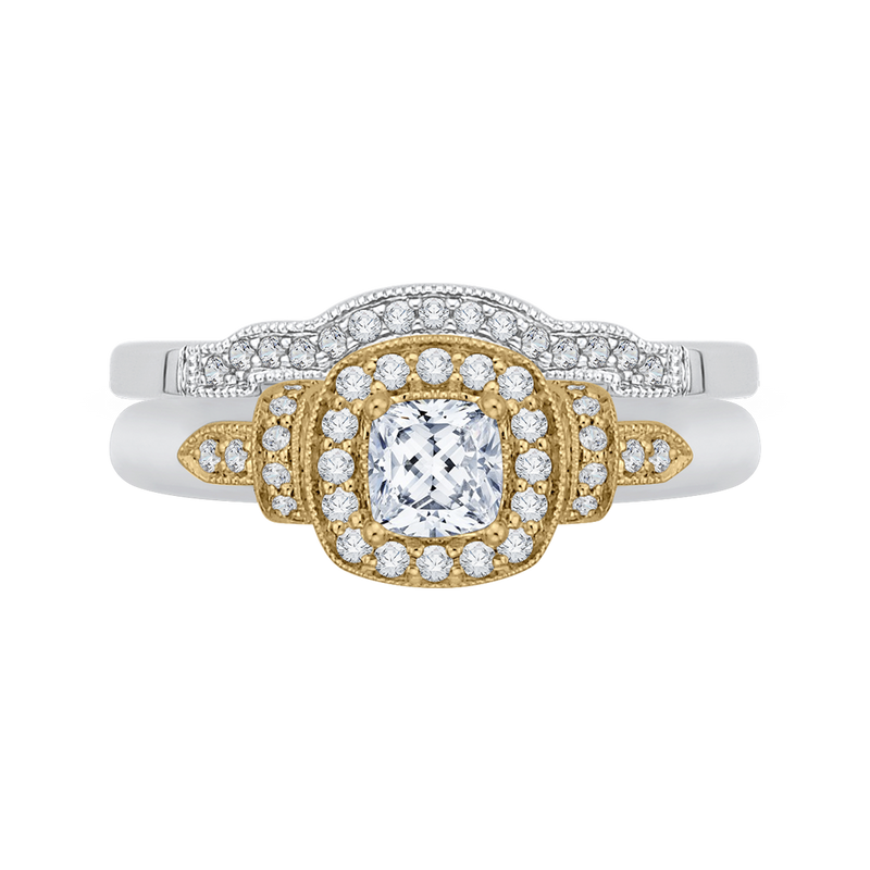14K Two Tone Gold Cushion Diamond Halo Engagement Ring