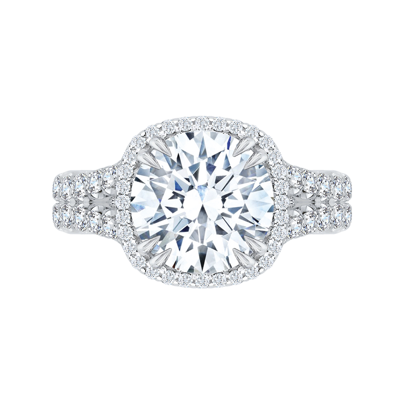 14K White Gold Oval Diamond Floral Engagement Ring (Semi Mount)