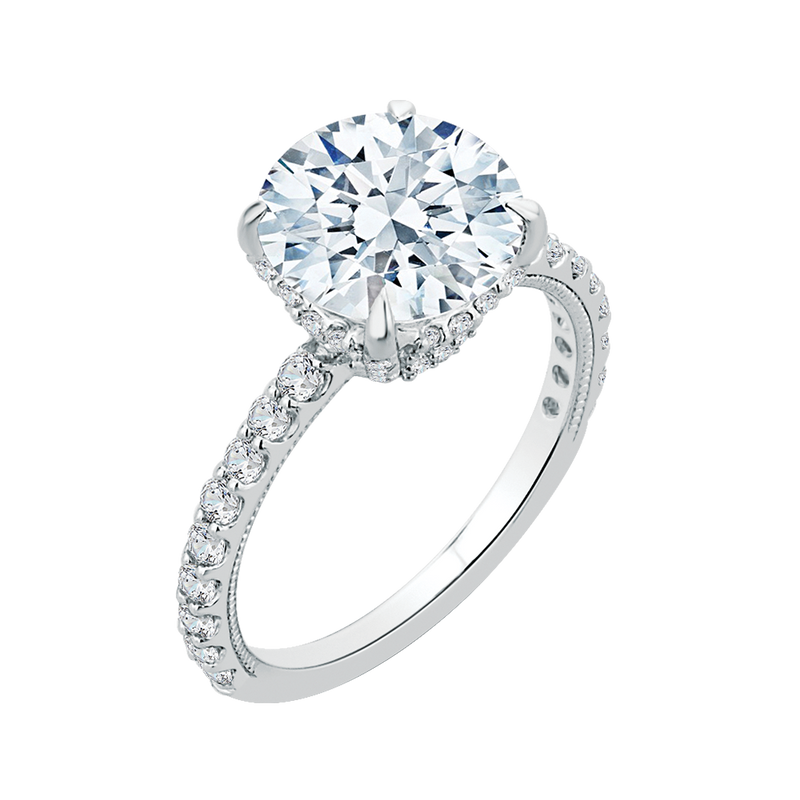 18K White Gold Round Diamond Engagement Ring (Semi-Mount)