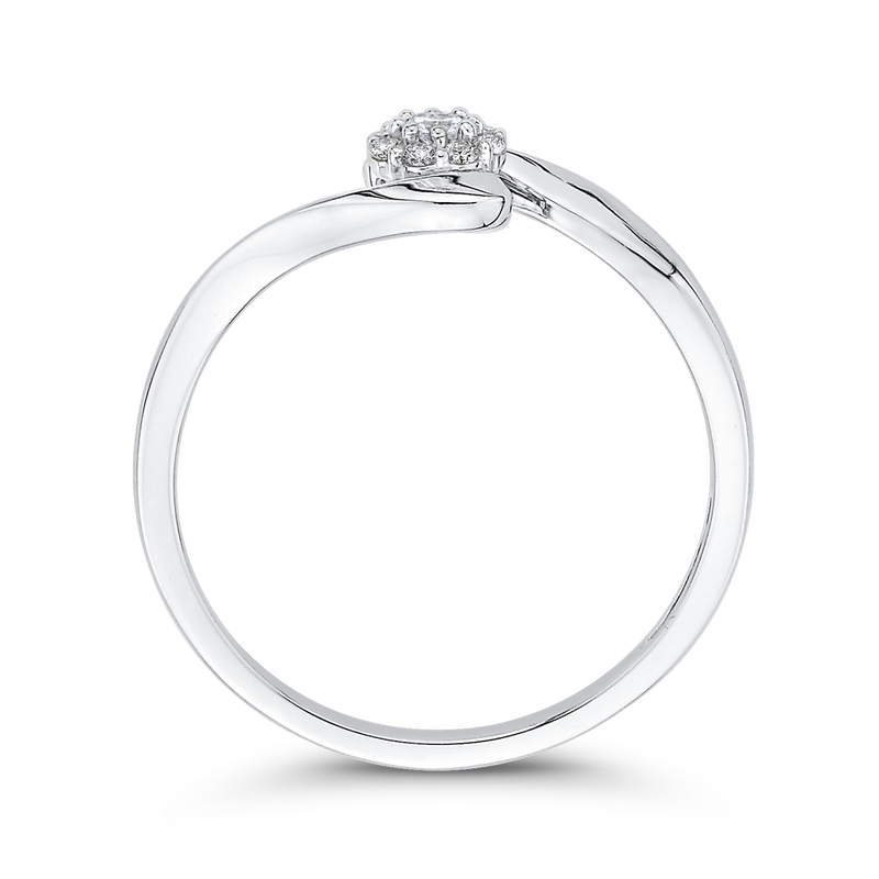 10K White Gold 1/10 Ct Diamond Fashion Ring