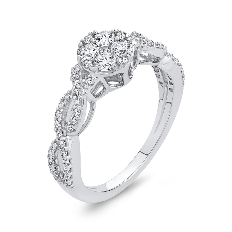 10K White Gold 3/4 Ct Diamond Fashion Ring