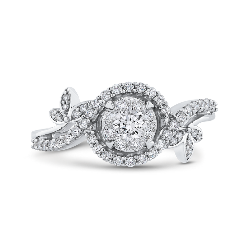 RF0999T-42W Fine Jewelry Luminous by Carizza White Gold  Diamond Cluster Sets Fashion Rings