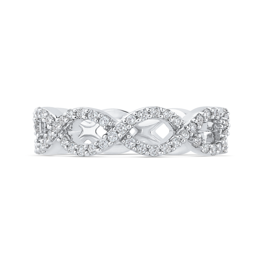 Infinity Wedding Band.10k White Gold 3 4 Ct Round Diamond Infinity Wedding Band Ring