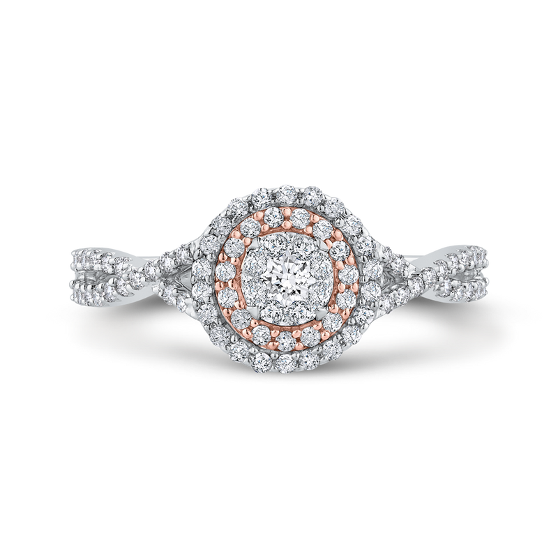 RF1011T-42WP Fine Jewelry Luminous by Carizza White Gold  Rose Gold  Diamond Cluster Sets Fashion Rings