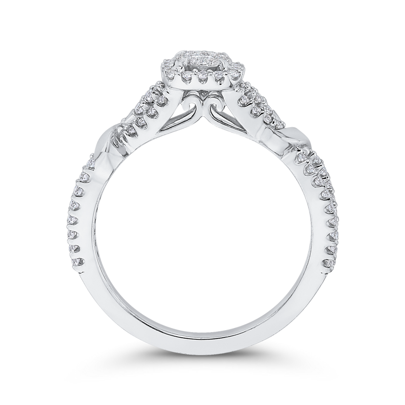 10K White Gold 1/2 ct White Diamond Fashion Ring