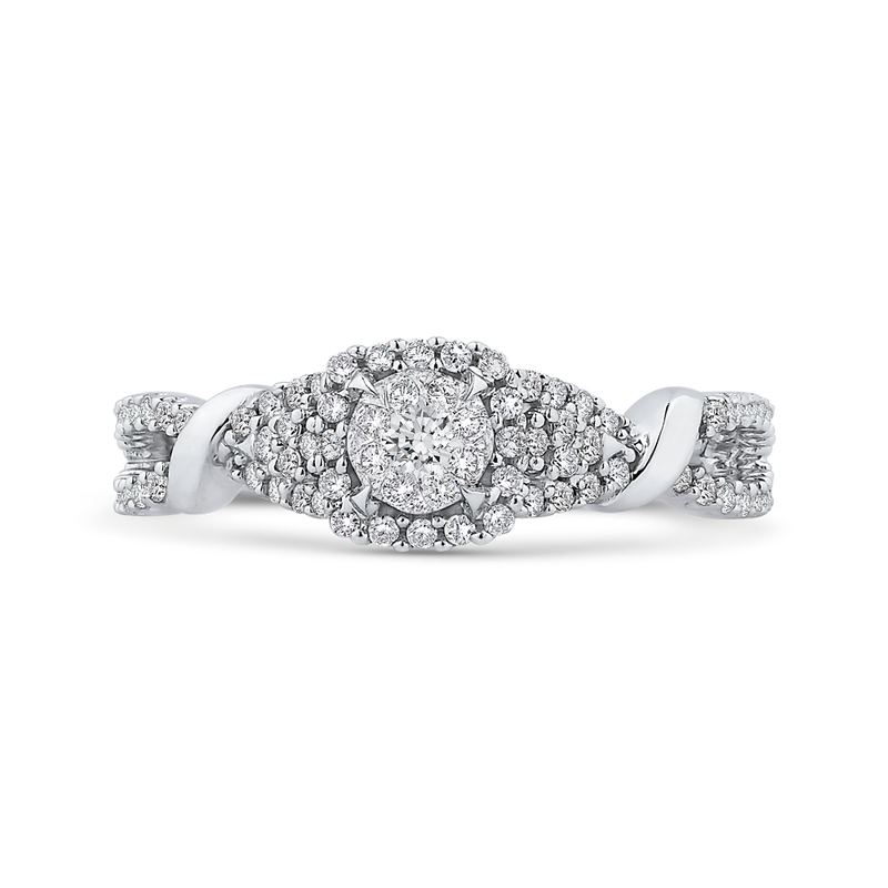 RF1013T-42W Fine Jewelry Luminous by Carizza White Gold  Diamond Cluster Sets Fashion Rings