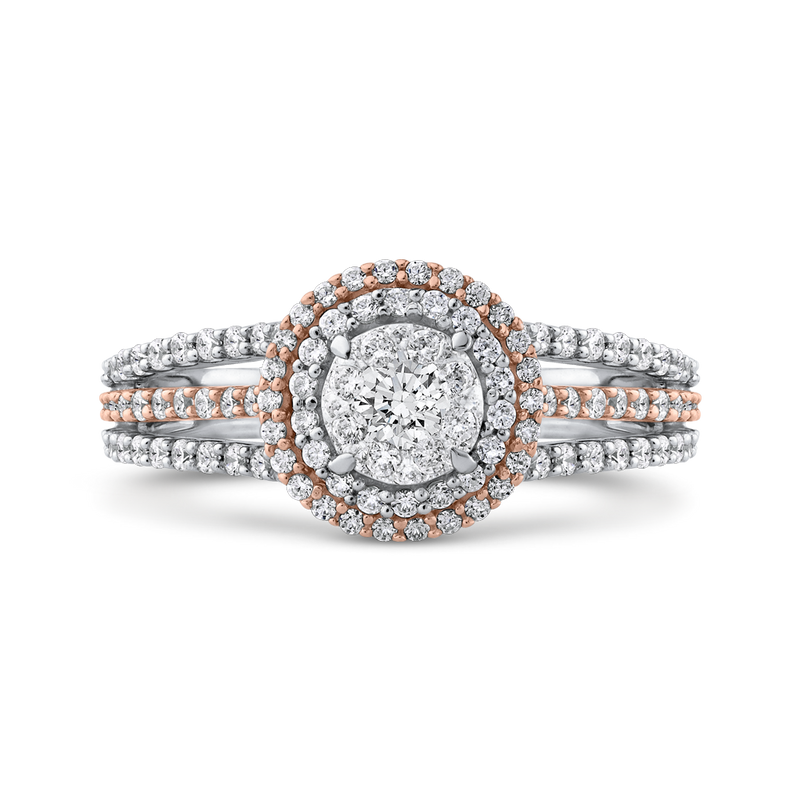 RF1032T-42WP Fine Jewelry Luminous by Carizza White Gold  Rose Gold  Yellow Gold Round Diamond Cluster Sets Fashion Rings