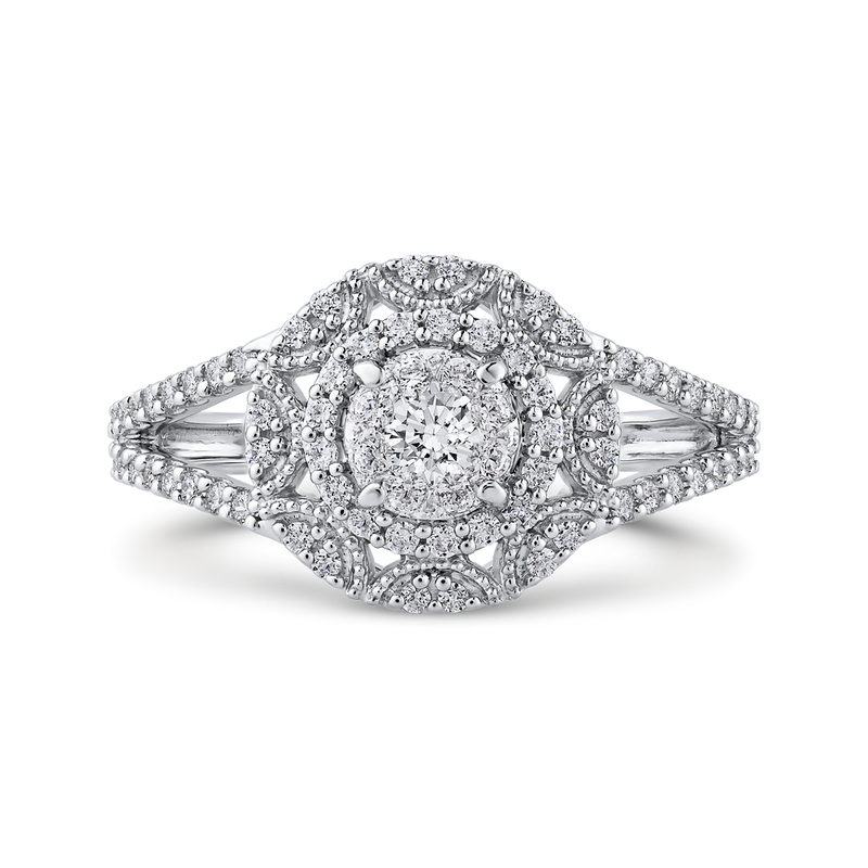 RF1036T-42W Fine Jewelry Luminous by Carizza White Gold Round Diamond Cluster Sets Fashion Rings