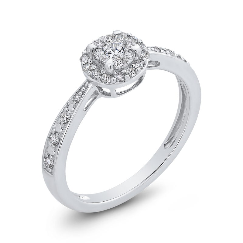 10K White Gold 1/4 ct Round Diamond Double Halo Fashion Ring
