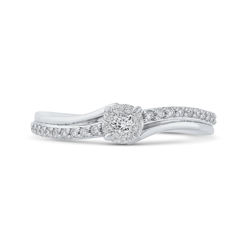 RF1039T-42W Fine Jewelry Luminous by Carizza White Gold Round Diamond Halo Fashion Rings