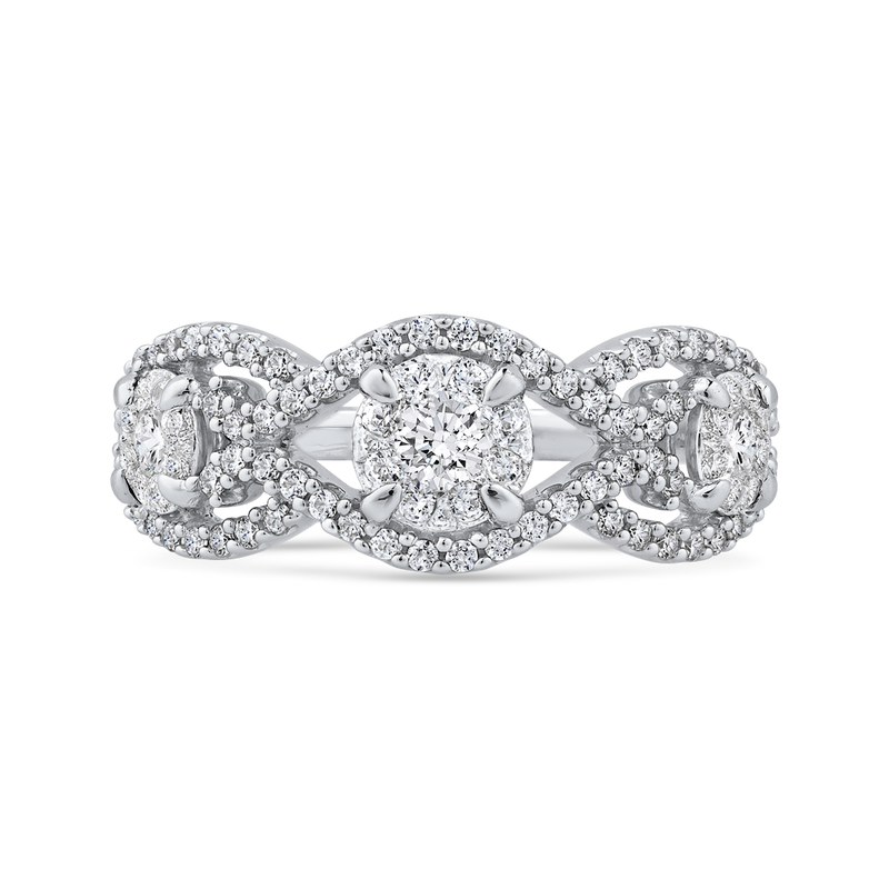 RF1047T-42W Fine Jewelry Luminous by Carizza White Gold  Diamond Cluster Sets Fashion Rings