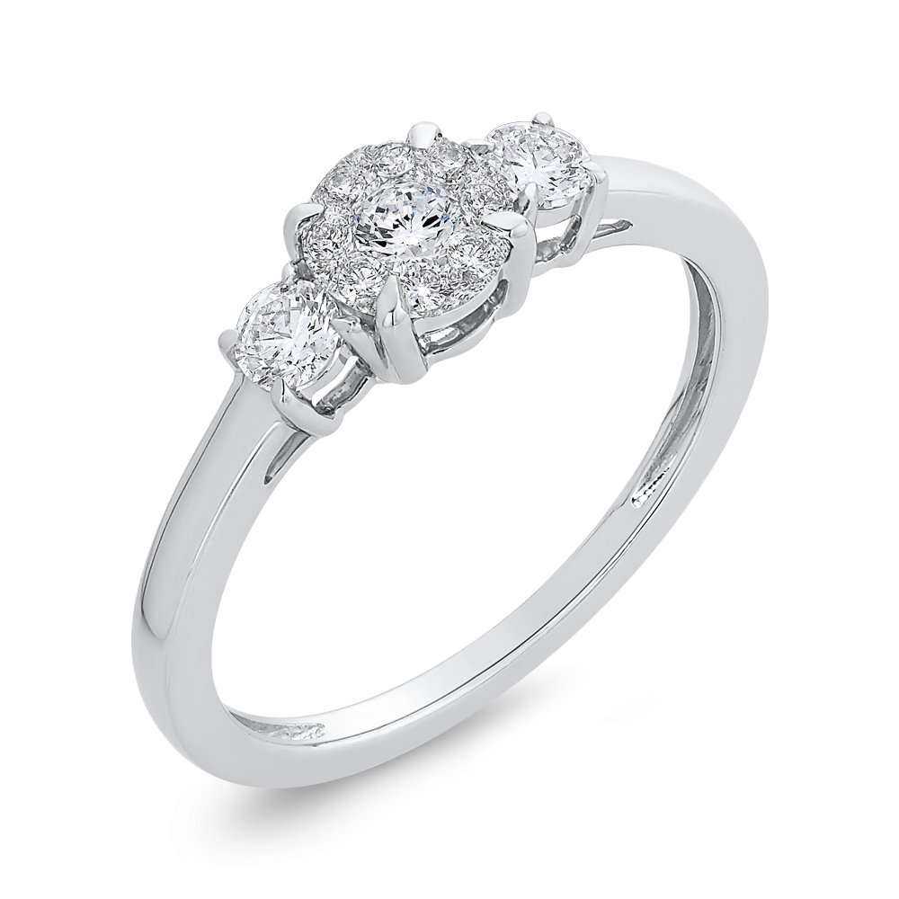 3/8 ct White Diamond 10K White Gold Fashion Ring