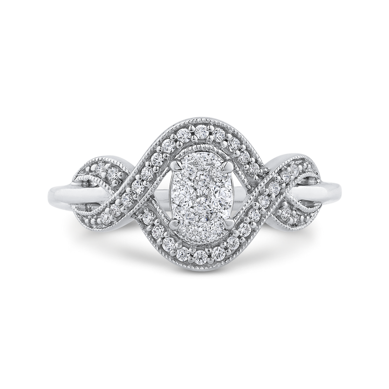 RF1064T-42W Fine Jewelry Luminous by Carizza White Gold Round Diamond Cluster Sets Fashion Rings