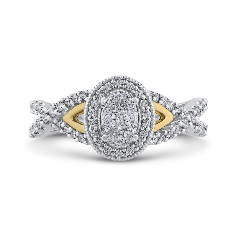 RF1066T-42WY Fine Jewelry Luminous by Carizza White Gold  Rose Gold  Yellow Gold Round Diamond Cluster Sets Fashion Rings