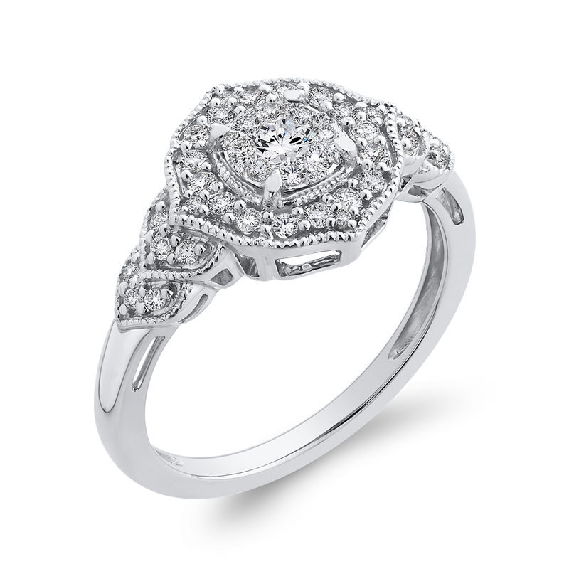 10K White Gold Round 3/8 ct White Diamond Fashion Ring