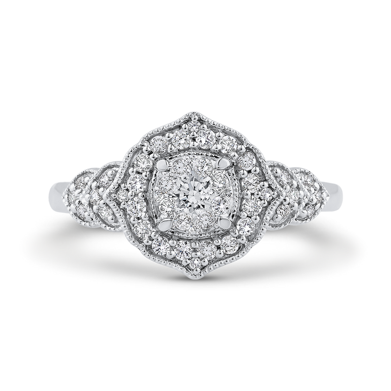 RF1071T-42W Fine Jewelry Luminous by Carizza White Gold Round Diamond Cluster Sets Fashion Rings