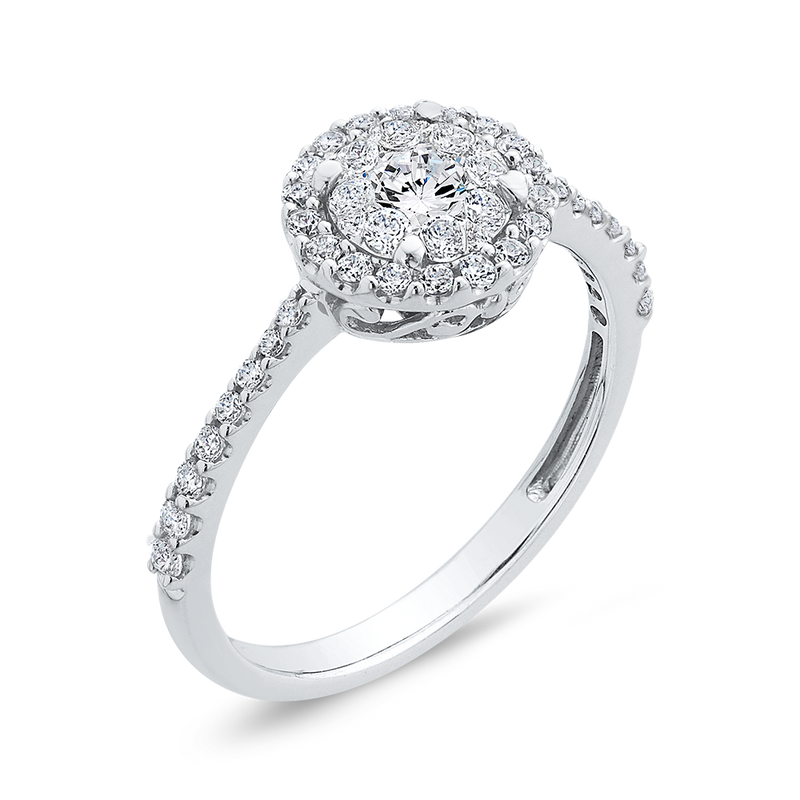 1/2 ct Round Diamond 10K White Gold Double Halo Fashion Ring