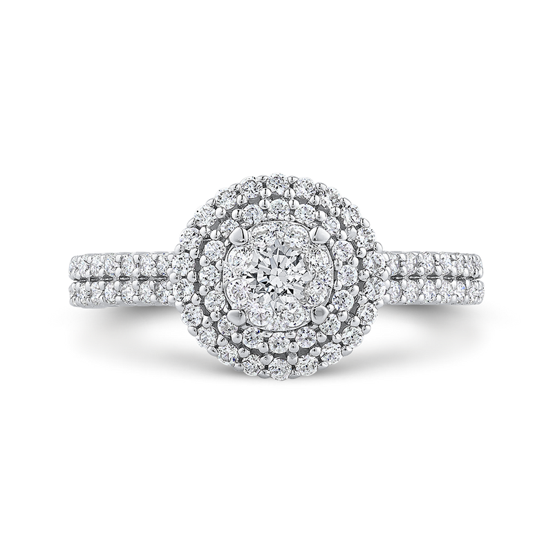 RF1078T-42W Fine Jewelry Luminous by Carizza White Gold  Diamond Cluster Sets Fashion Rings