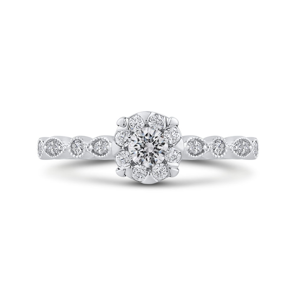 RF1089T-42W Fine Jewelry Luminous by Carizza White Gold Round Diamond Halo Fashion Rings