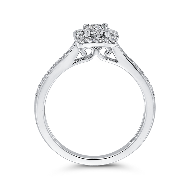10K White Gold Round 1/3 ct White Diamond Fashion Cluster Ring