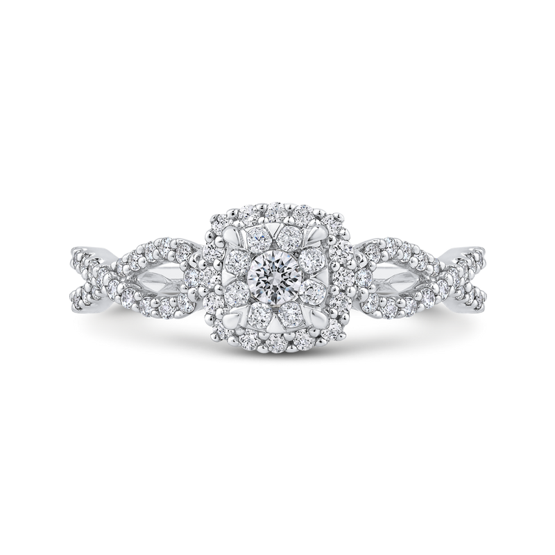 1/2 ct Round Diamond Fashion Ring In 10K White Gold
