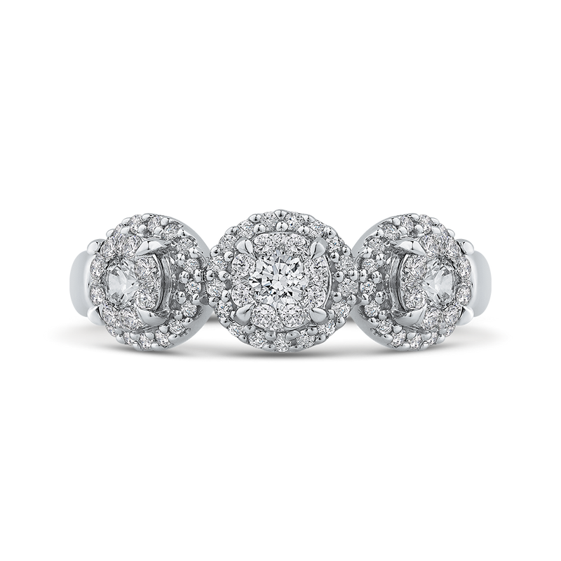RF1112T-42W Fine Jewelry Luminous by Carizza White Gold Round Diamond 3 Stone Cluster Sets Fashion Rings