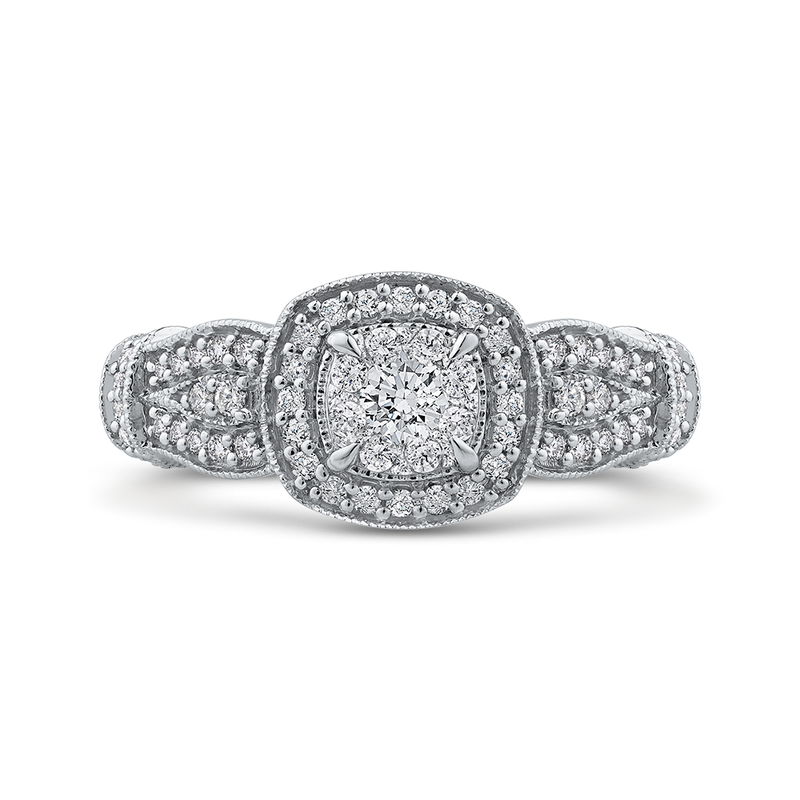 RF1113T-42W Fine Jewelry Luminous by Carizza White Gold Round Diamond Cluster Sets Fashion Rings