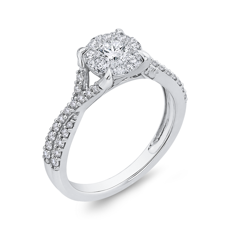 10K White Gold 3/4 ct Round Diamond Promise Halo Fashion Ring
