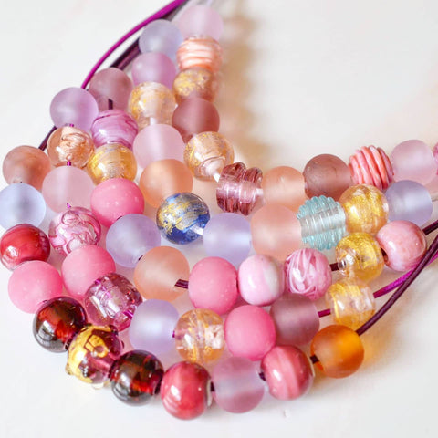 PINK & GOLD GLASS NECKLACES
