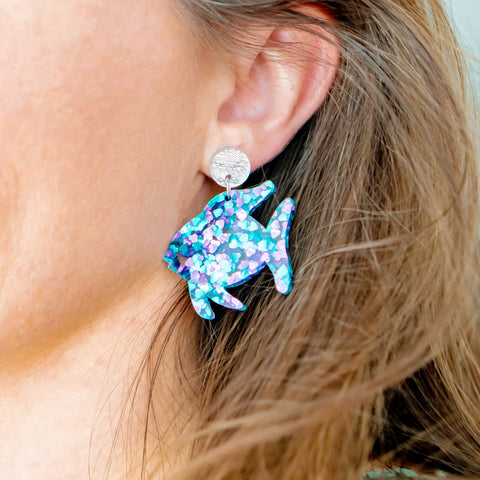 RAINBOW FISH DANGLY EARRINGS