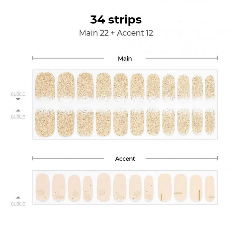 DASHING DIVA Gloss Gel Strip Mani Glow up Pure Gold GVP320