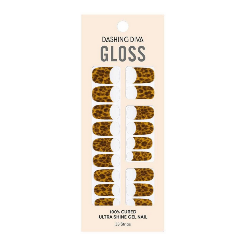DASHING DIVA Gloss Gel Strip Amber Marble Collection Mani French Leopard GVP311