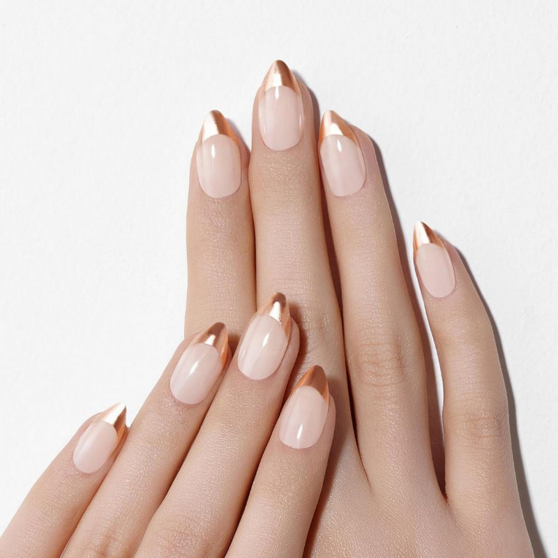 DASHING DIVA Magic Press Soft Metallic Stiletto Mani Rose Gold Edge French MWK020ST
