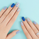 Load image into Gallery viewer, DASHING DIVA Magic Press Long Mani Blue Smudge MDR439SL