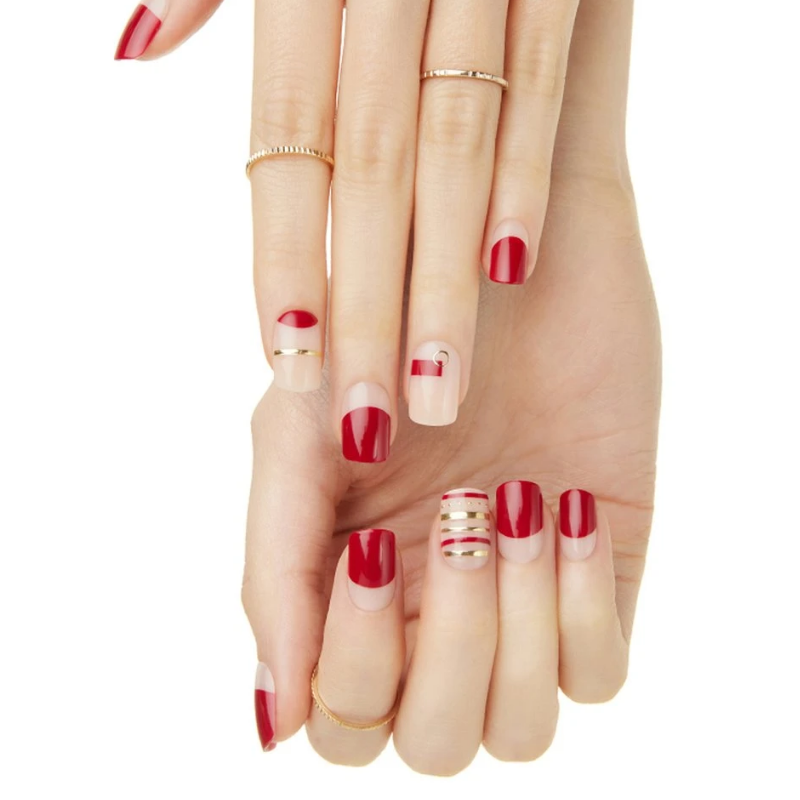 DASHING DIVA Magic Press Mani Red Ornament MDR151