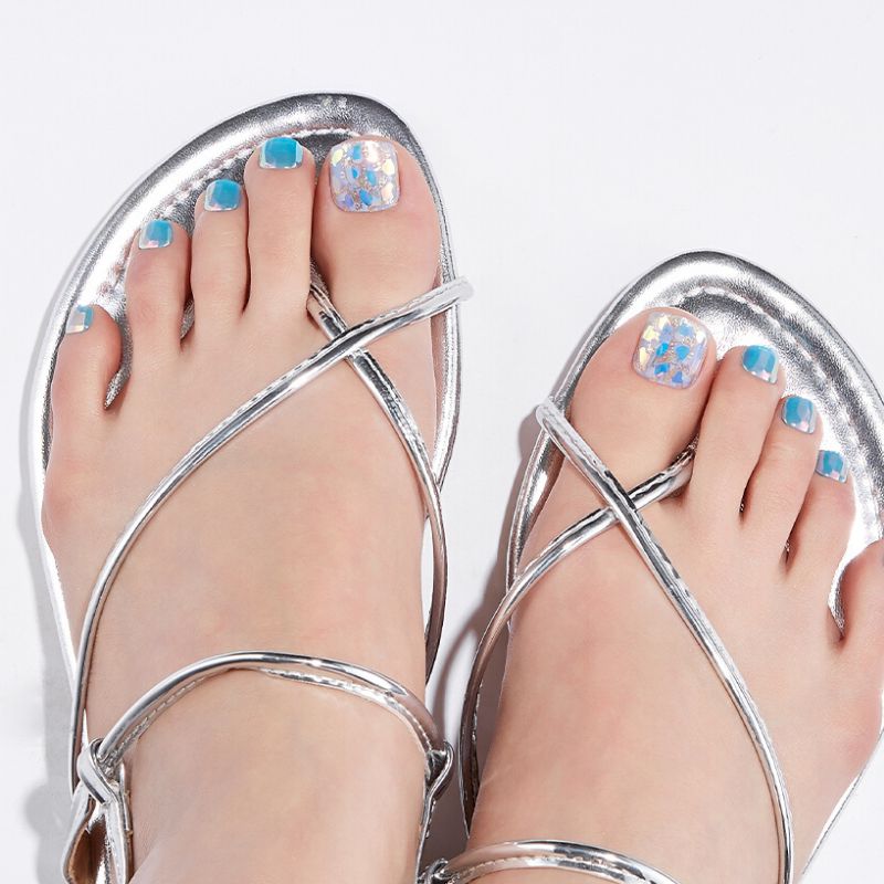 DASHING DIVA Magic Press Oh California Pedi Dazzling Blue MDR669P