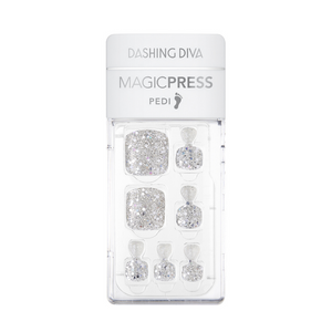 DASHING DIVA Magic Press Oh California Pedi Silver Sparkling MDR676P