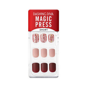 DASHING DIVA Magic Press Wonder Red Short Mani Rose Shine MDR829SS